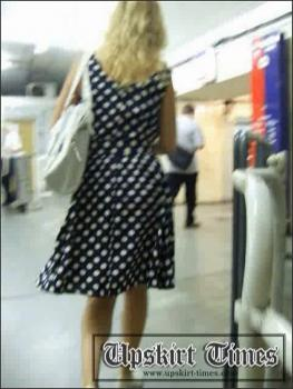 Upskirt-times.com- Ut_0155# A blond in a polka dot dress. She noticed me at once_but I didn_t stop. I...