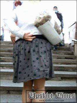 Upskirt-times.com- Ut_0951# Awesome blonde in short grey skirt. I caught up with her on the stairs but she...