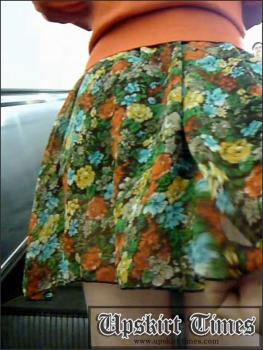 Upskirt-times.com- Ut_1202# Here comes cute girl in short green skirt! She had double skirt with black...