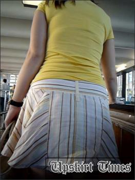 Upskirt-times.com- Ut_1221# Here comes cute girl in short white skirt! She had short legs and fat ass in...