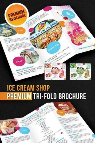 Ice Cream Shop Tri-Fold Brochure PSD Template