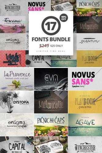 17 Fonts Bundle + Extras