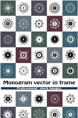 Monogram vector in frame