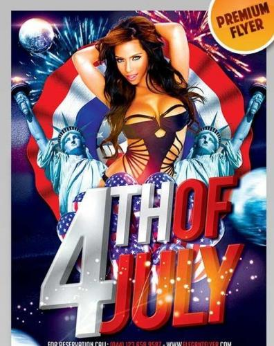 4th of July Celebration Flyer PSD Template