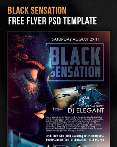 Black Sensation Flyer PSD Template