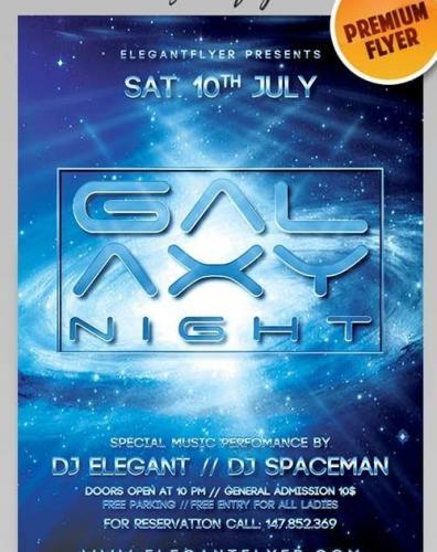 Galaxy Night Flyer PSD Template