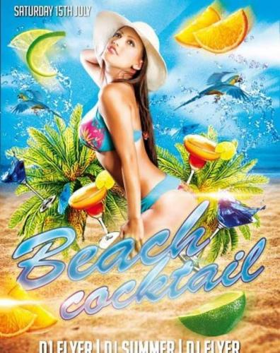 Beach Cocktail PSD Flyer Template