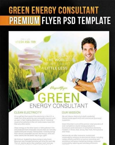 Green Energy Consultant Flyer PSD Template