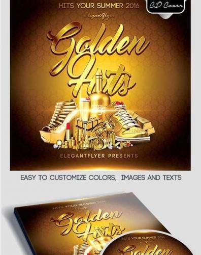 Golden Hits CD Cover PSD Template