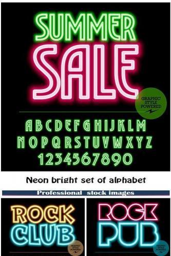 Neon bright set of alphabet letters
