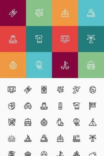 Travel and Tourist Stroke Icon Set