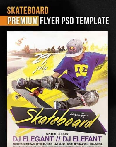 Skateboard V1 Flyer PSD Template