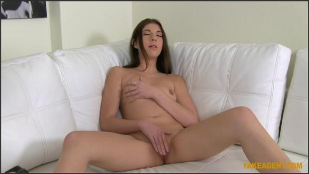Fakehub.com- Brunette Gives Blowjob on the Couch