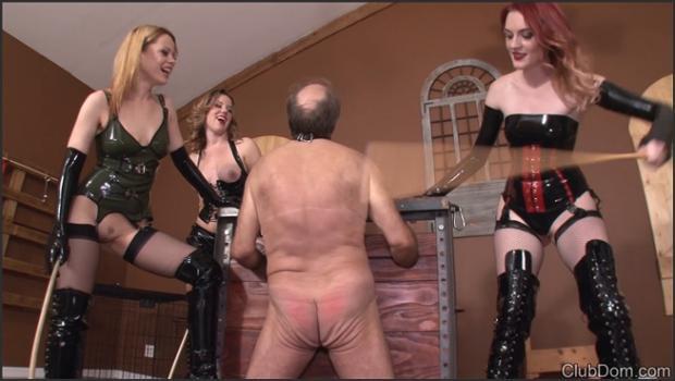 Clubdom.com- 3 Mistresses CBT Caning Slave