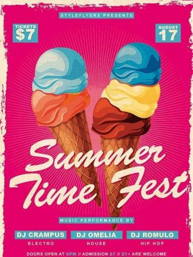 Summer time fest PSD Flyer Template