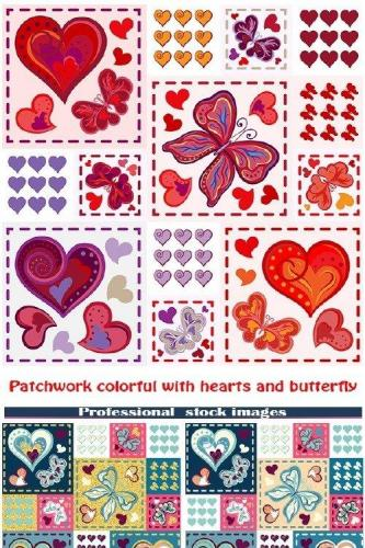 Patchwork colorful with hearts and butterfly