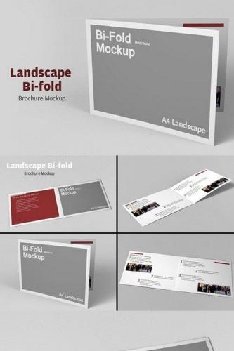 Landscape Bi-fold Brochure Mockup