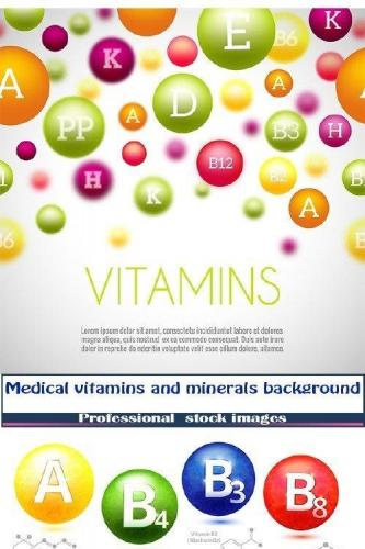 Medical vitamins and minerals background