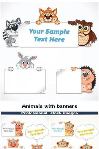 Animals with banners