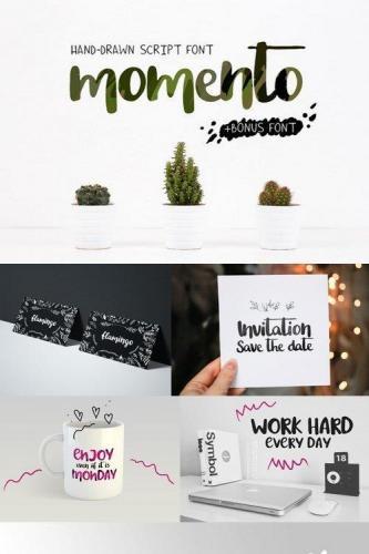 Momento script font + Chappy font