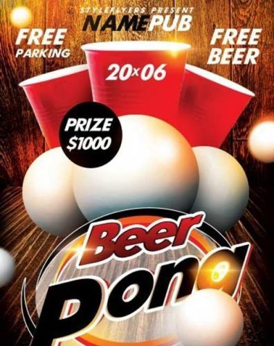 Beer Pong Party PSD Flyer Template