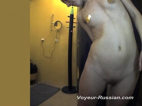 Hidden-Zone.com- Pv586# Hidden camera in the solarium. Slim girl completely undressed and smeared with cream in front